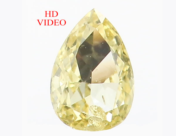 0.14 Ct Natural Loose Diamond Pear Yellow Color SI1 Clarity 4.50 MM L8625