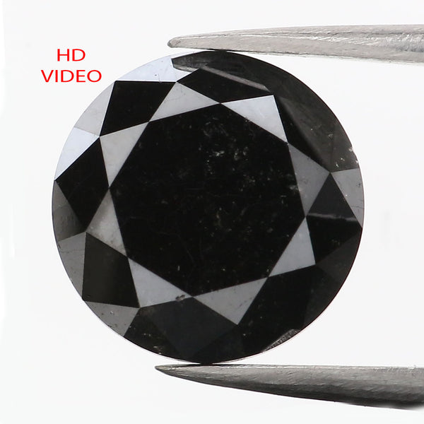 3.53 CT Natural Loose Diamond Round Black Color 9.20 MM L9117
