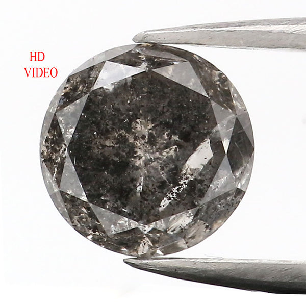 1.06 CT Natural Loose Diamond Round Black Gray Salt And Pepper Color 6.05 MM L9062
