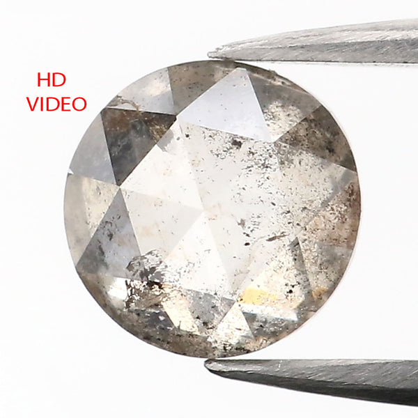 0.87 CT Natural Loose Diamond Round Rose Cut Black Gray Salt And Pepper Color I3 Clarity 5.70 MM L9095