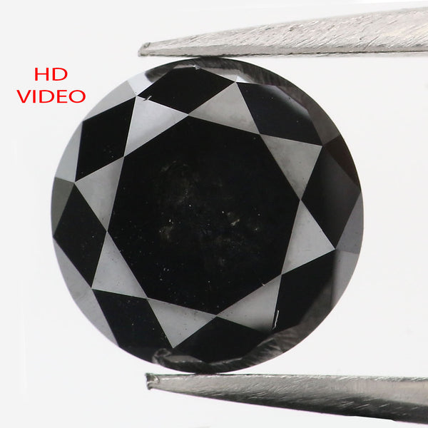 2.83 CT Natural Loose Diamond Round Black Color 8.50 MM L9047