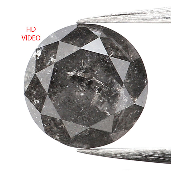 0.95 Ct Natural Loose Diamond, Round Brilliant Cut, Salt Pepper Diamond, Black Diamond, Gray Diamond, Rustic Diamond, Round Diamond L006