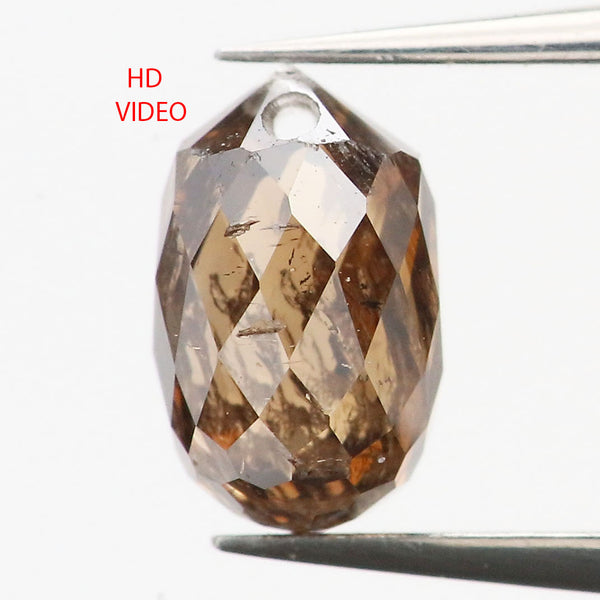 0.47 Ct Natural Loose Diamond Drop Black Brown Color SI1 Clarity 5.10 MM L9252