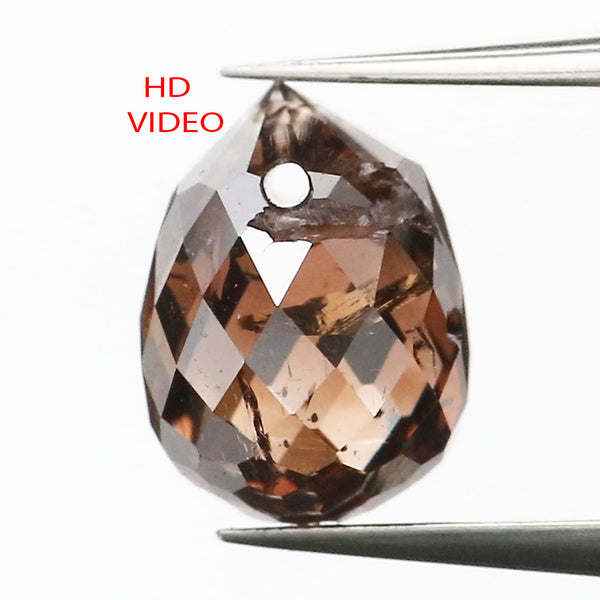 1.02 Ct Natural Loose Diamond Drop Black Brown Color SI1 Clarity 6.00 MM L9257