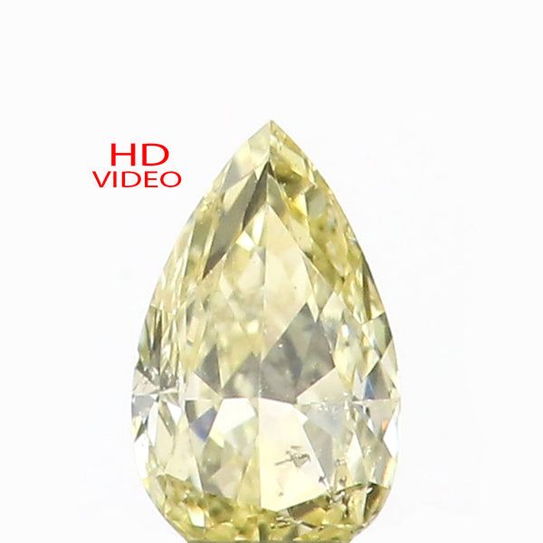 0.15 Ct Natural Loose Diamond Pear Yellow Color SI1 Clarity 4.60 MM L8612