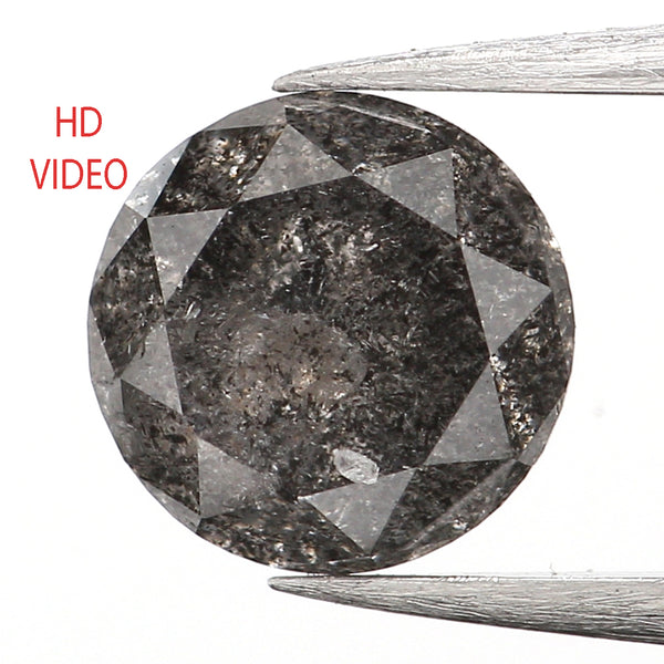 0.65 Ct Natural Loose Diamond, Round Brilliant Cut, Salt Pepper Diamond, Black Diamond, Gray Diamond, Rustic Diamond, Round Diamond L041