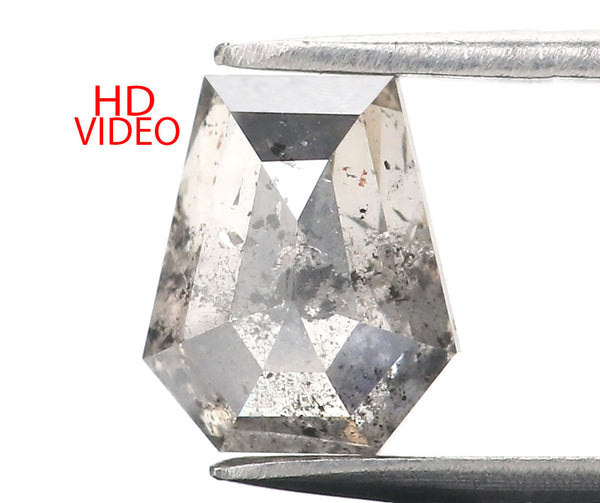 1.11 Ct Natural Loose Diamond Coffin Black Grey Salt And Pepper Color I3 Clarity 6.80 MM KR2178