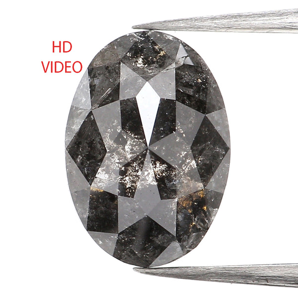 1.79 Ct Natural Loose Diamond, Oval Diamond, Black Diamond, Oval Cut Diamond, Polished Diamond, Rose Cut Diamond, Rustic Diamond L050