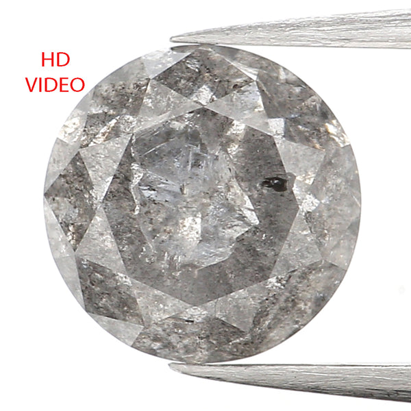 1.45 Ct Natural Loose Diamond, Round Brilliant Cut, Salt Pepper Diamond, Black Diamond, Gray Diamond, Rustic Diamond, Round Diamond L013
