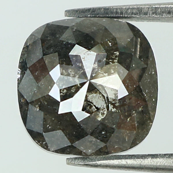 1.74 Ct Natural Loose Diamond Cushion Black Grey Color I3 Clarity 7.30 MM KR2056