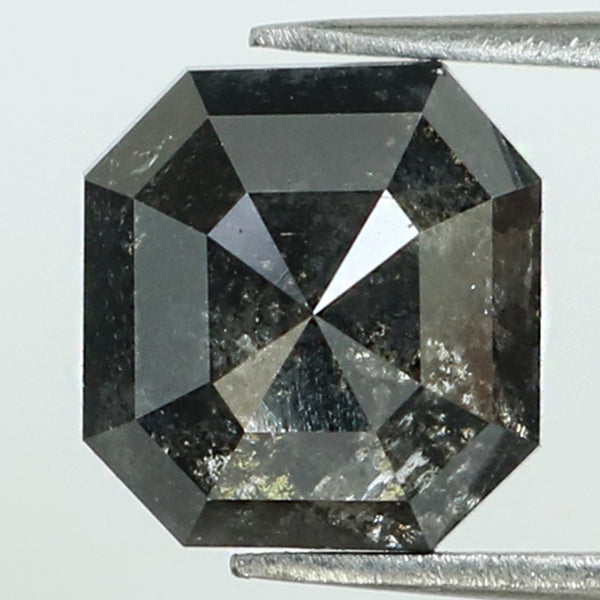 2.68 Ct Natural Loose Diamond Radiant Black Grey Color I3 Clarity 8.00 MM L8258