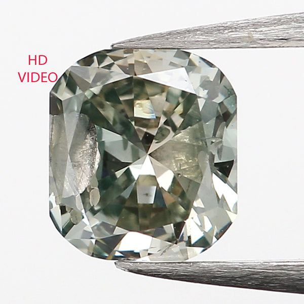 0.36 Ct Natural Loose Diamond, Cushion Diamond, Green Diamond, Polished Diamond, Brilliant Cut Diamond, Rustic Diamond, Antique Diamond L9998