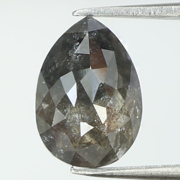 1.70 Ct Natural Loose Diamond Pear Black Grey Color I3 Clarity 9.00 MM L8120
