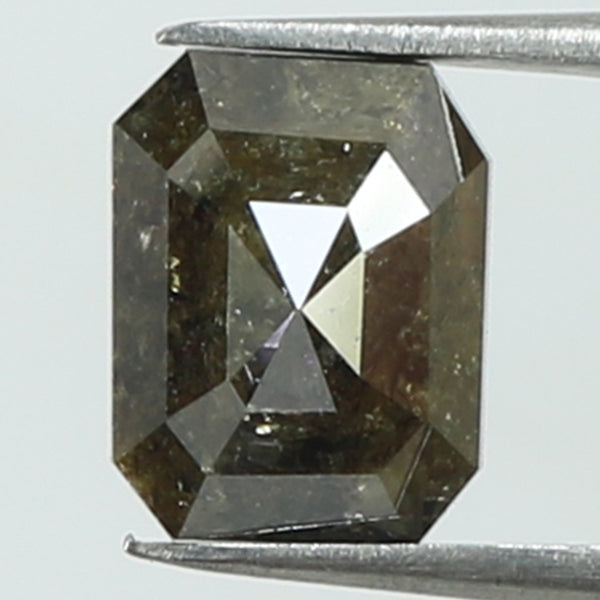 3.09 Ct Natural Loose Diamond Emerald Grey Brown Color I3 Clarity 9.00 MM L8174