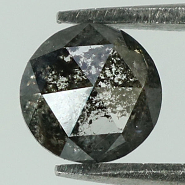 0.45 Ct Natural Loose Diamond Round Rose Cut Black Grey Salt And Pepper Color I3 Clarity 4.60 MM L8282