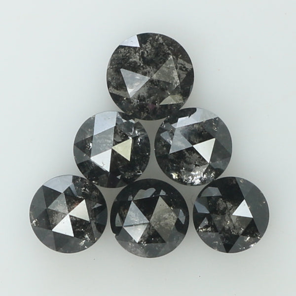 1.34 Ct Natural Loose Diamond Round Rose Cut Black Grey Salt And Pepper Color I3 Clarity 6 Pcs L8227