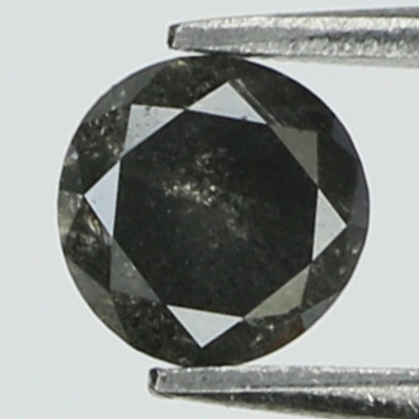 0.33 Ct Natural Loose Diamond Round Black Grey Salt And Pepper Color I3 Clarity 4.10 MM KR2075
