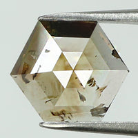 0.85 Ct Natural Loose Diamond Hexagon Brown Color I3 Clarity 7.10 MM KR2017