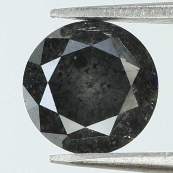 1.25 Ct Natural Loose Diamond Round Black Grey Salt And Pepper Color I3 Clarity 6.40 MM KDL8301