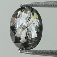 0.41 Ct Natural Loose Diamond Oval Black Grey Salt And Pepper Color I3 Clarity 5.30 MM KR2010