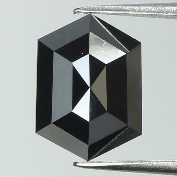 2.63 Ct Natural Loose Diamond Hexagon Black Color I3 Clarity 10.00 MM L8209