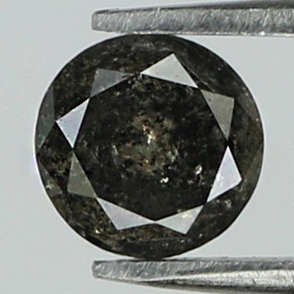 0.38 Ct Natural Loose Diamond Round Black Grey Salt And Pepper Color I3 Clarity 4.40 MM KR2062