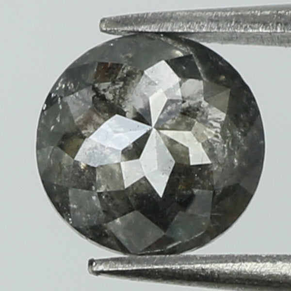 0.85 Ct Natural Loose Diamond Round Rose Cut Black Grey Salt And Pepper Color I3 Clarity 5.90 MM L8289