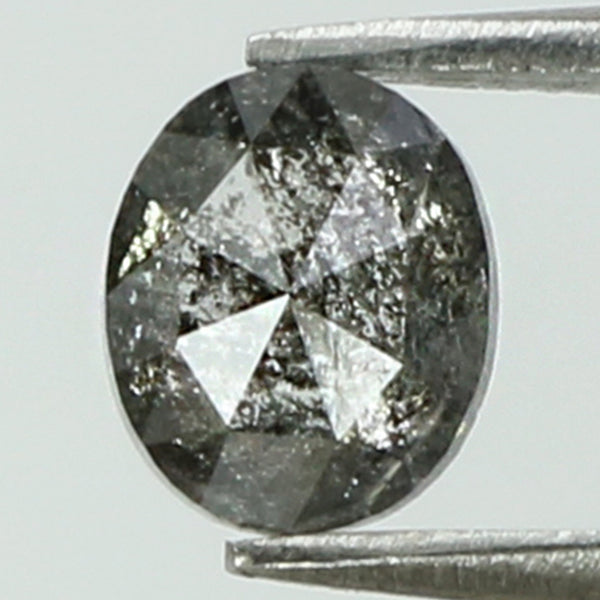 0.40 Ct Natural Loose Diamond Oval Black Grey Salt And Pepper Color I3 Clarity 4.85 MM L8266