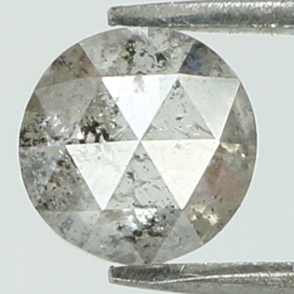 0.45 Ct Natural Loose Diamond Round Rose Cut Black Grey Salt And Pepper Color I3 Clarity 4.75 MM KR2064