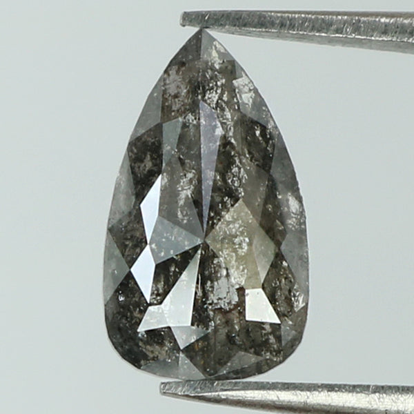 1.23 Ct Natural Loose Diamond Pear Black Grey Salt And Pepper Color I3 Clarity 9.30 MM L8279
