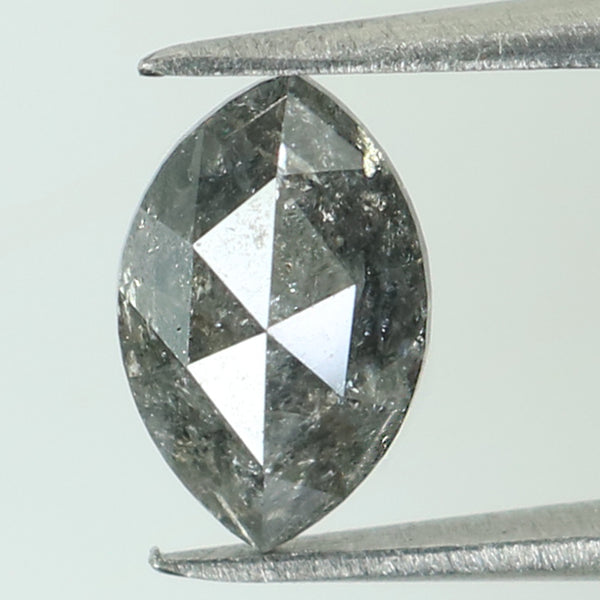 1.22 Ct Natural Loose Diamond Marquise Black Grey Salt And Pepper Color I3 Clarity 8.50 MM KR1961