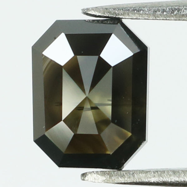 1.38 Ct Natural Loose Diamond Emerald Black Color I3 Clarity 7.00 MM KR2087