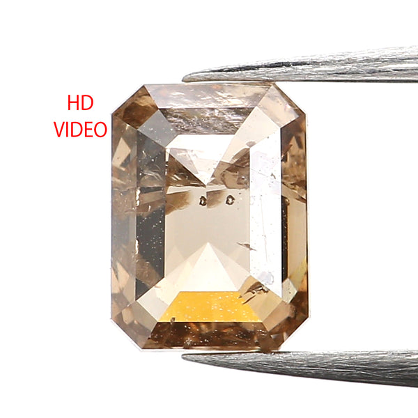 0.87 Ct Natural Loose Diamond, Emerald Cut Diamond, Brown Diamond, Polished Diamond, Rose Cut Diamond, Rustic Diamond, Antique Diamond L060