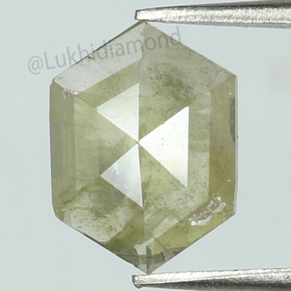 1.03 CT Natural Loose Diamond Hexagon Grey Yellow Color I3 Clarity 8.60 MM KR2079