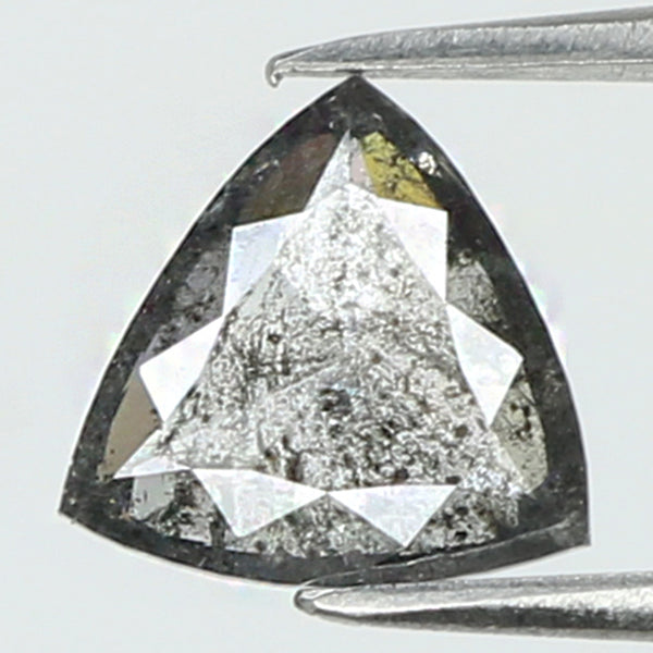 0.63 Ct Natural Loose Diamond Triangle Black Grey Salt And Pepper Color I3 Clarity 6.40 MM KR2039