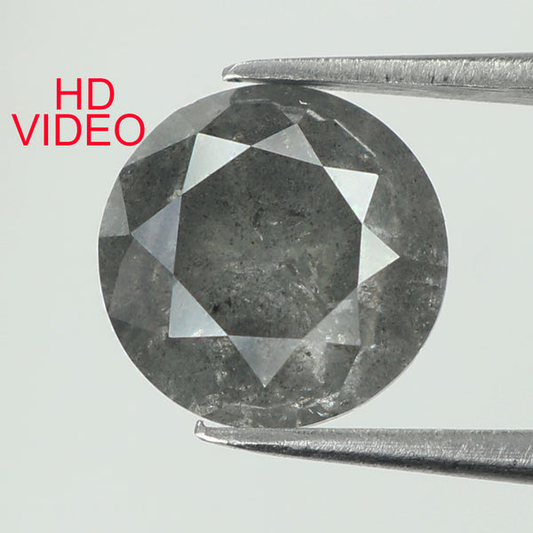 2.11 Ct Natural Loose Diamond Round Black Grey Salt And Pepper Color I3 Clarity 7.50 MM KDK1991