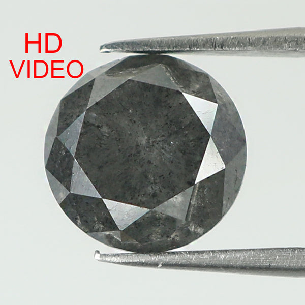 2.68 Ct Natural Loose Diamond Round Black Grey Salt And Pepper Color I3 Clarity 7.80 MM KDK1989