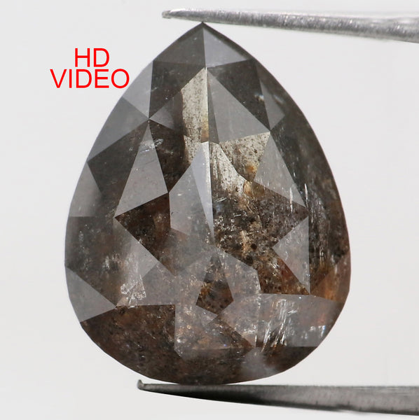 7.99 Ct Natural Loose Diamond Pear Black Grey Salt And Pepper Color I3 Clarity 13.65 MM L8111