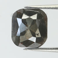 3.67 Ct Natural Loose Diamond Cushion Grey Color I3 Clarity 8.90 MM KR2119