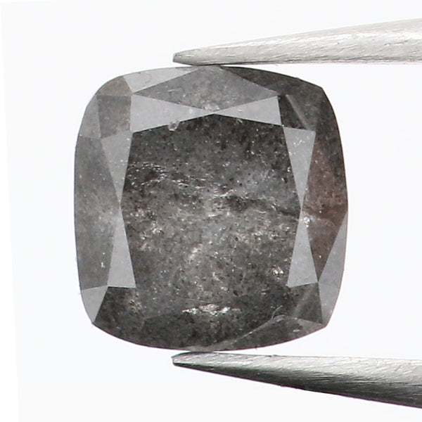 0.53 Ct Natural Loose Diamond Cushion Cut Black Gray Salt And Paper Color 4.44 MM L8681