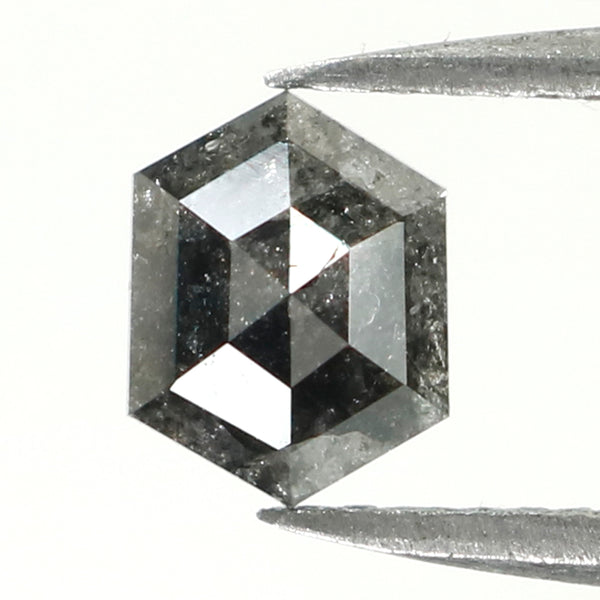 0.90 Ct Natural Loose Diamond, Hexagon Diamond, Grey Diamond, Black Diamond, Hexagon Cut Diamond, Rose Cut Diamond L010