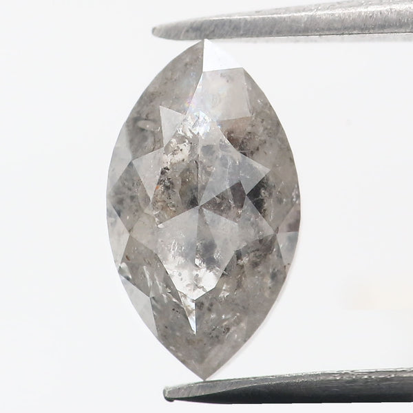 1.37 Ct Natural Loose Diamond Marquise Black Grey Salt And Pepper Color I3 Clarity 8.95 MM L8852