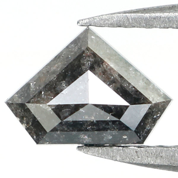 0.72 Ct Natural Loose Diamond, Salt And Pepper Diamond, Shield Cut Diamond, Black Gray Color Diamond, Rose Cut Real Rustic Diamond L007