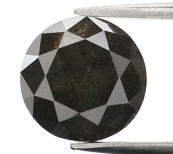 1.52 Ct Natural Loose Diamond Round Black Color I3 Clarity 7.10 MM L8979