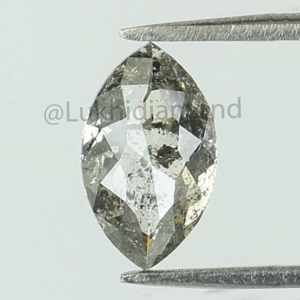 0.94 Ct Natural Loose Diamond Marquise Black Grey Salt And Pepper Color I3 Clarity 8.20 MM KDL8473