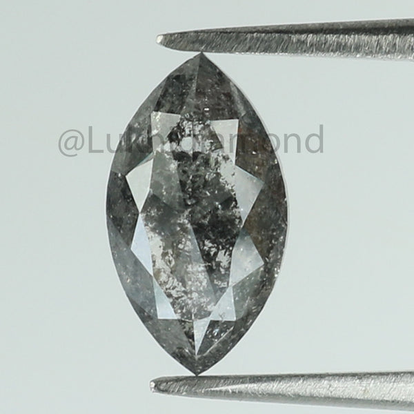 1.10 Ct Natural Loose Diamond Marquise Black Grey Salt And Pepper Color I3 Clarity 8.60 MM KDL8482