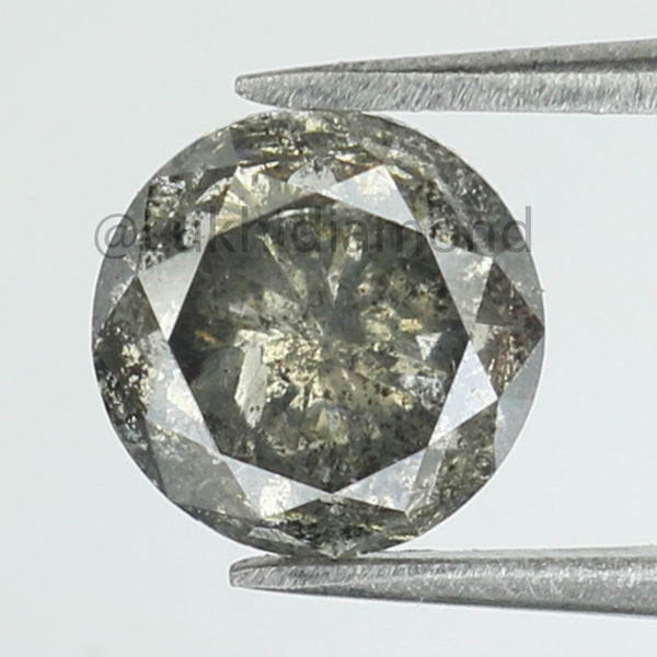 1.51 Ct Natural Loose Diamond Round Black Grey Salt And Pepper Color I3 Clarity 6.60 MM KDL8399