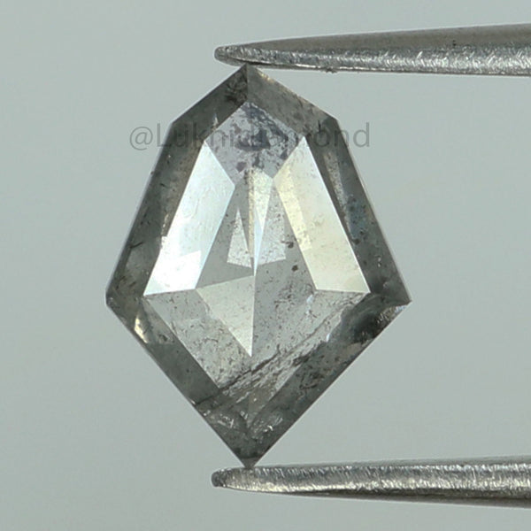 0.98 Ct Natural Loose Diamond Shield Black Grey Salt And Pepper Color I3 Clarity 8.70 MM KDL8462