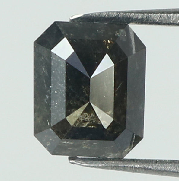 1.26 Ct Natural Loose Diamond Emerald Black Color I3 Clarity 6.10 MM KR1954