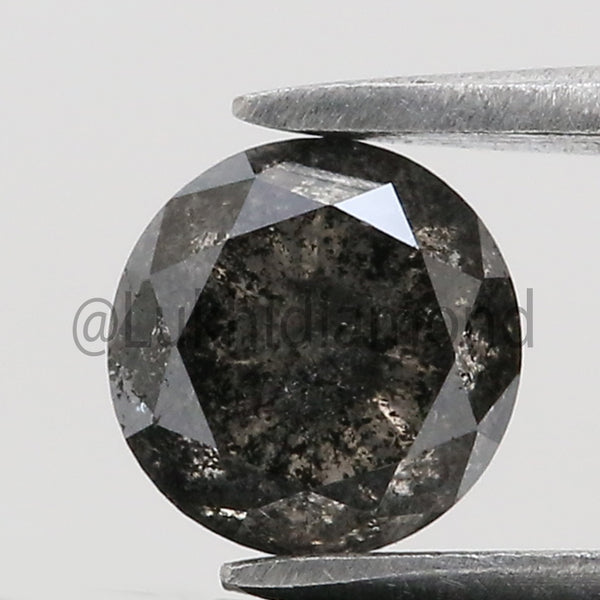 0.58 Ct Natural Loose Diamond Round Black Gray Salt And Pepper Color I3 Clarity 4.70 MM GRK2108